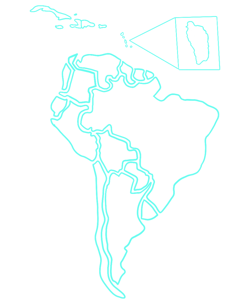 Map of South America with Colombia, Venezuela, Haiti, and Dominica highlighted
